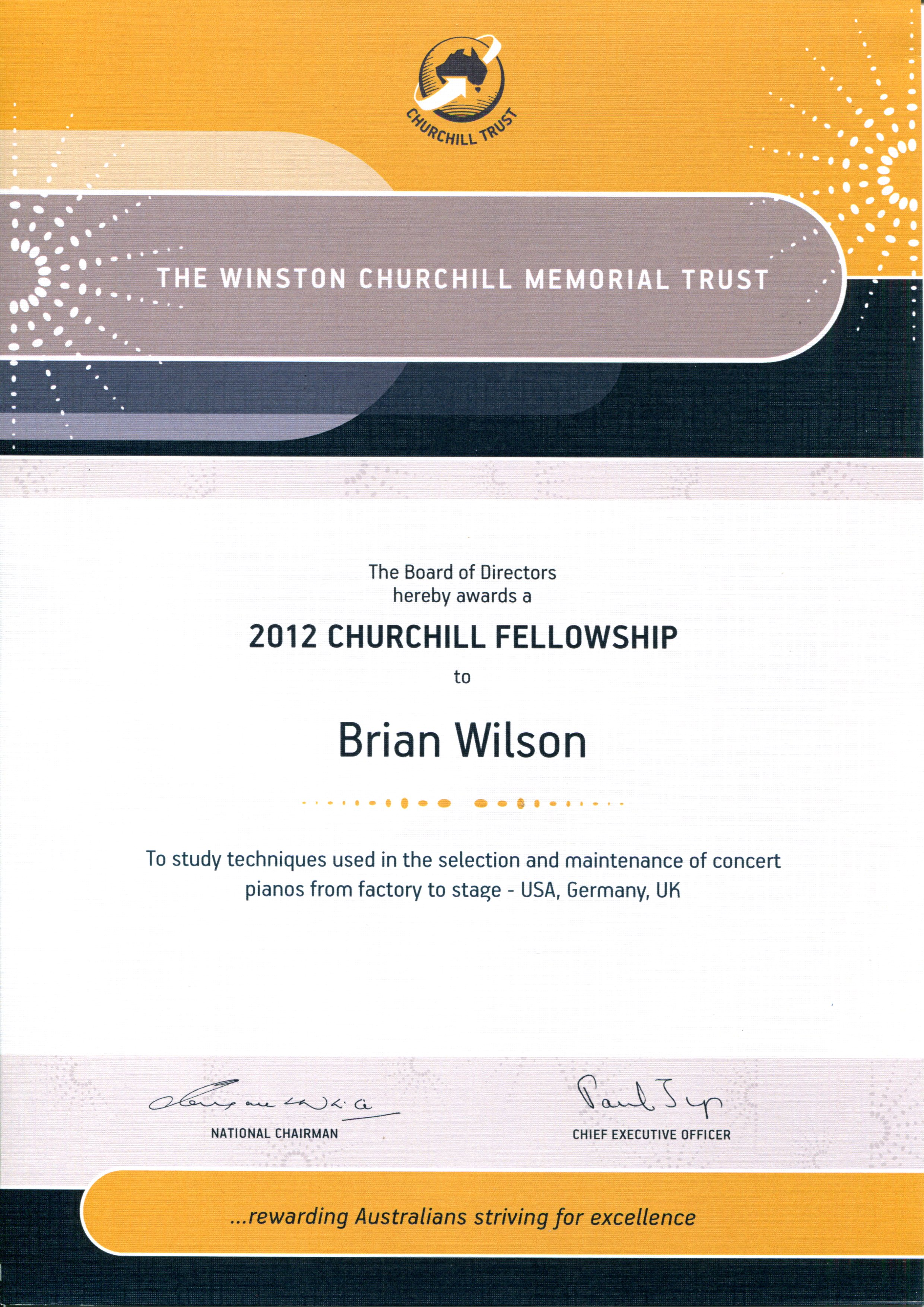 Brian Wilson - Churchill Memorial Trust Certificate