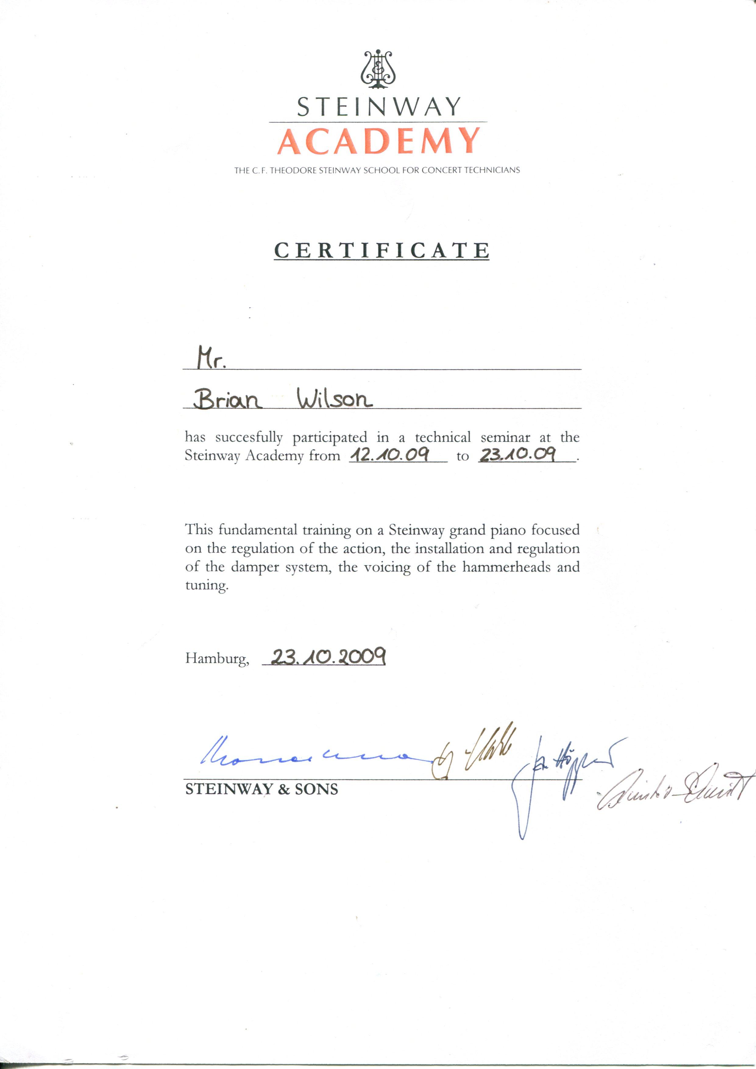 Brian Wilson - Steinway Accreditation 2009