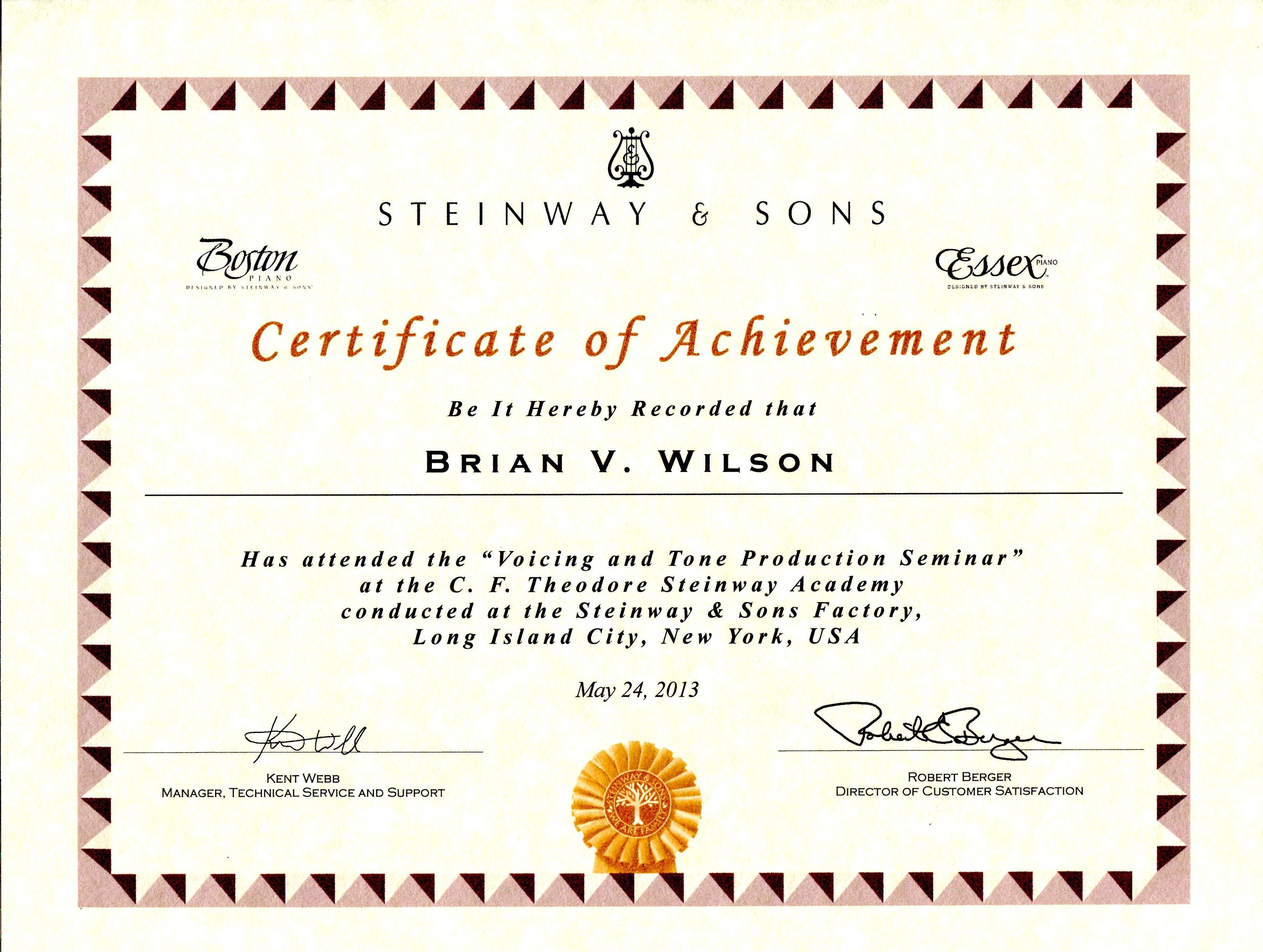 Brian Wilson - Steinway Accreditation 2012